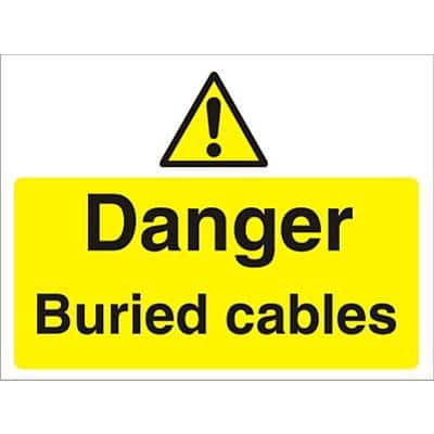 Warning Sign Buried Cables Fluted Board 45 x 60 cm
