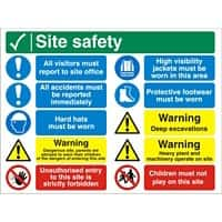 Construction Site Sign Site Safety Fluted Board Assorted 45 x 60 cm