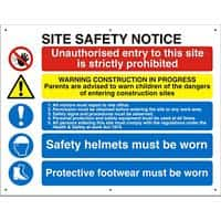 Construction Site Sign Site Safety Fluted Board Assorted 60 x 80 cm