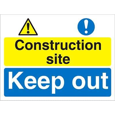 Site Sign Construction Site Fluted Board 30 x 40 cm