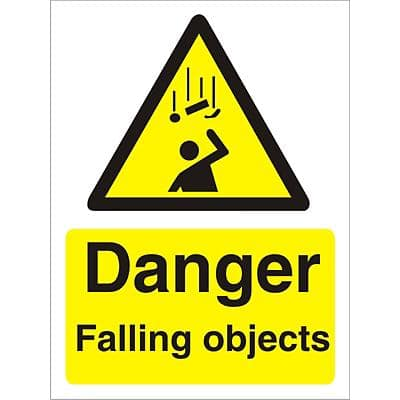 Warning Sign Falling Objects Vinyl 30 x 20 cm