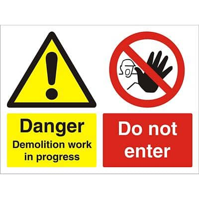 Warning Sign Demolition PVC 30 x 40 cm