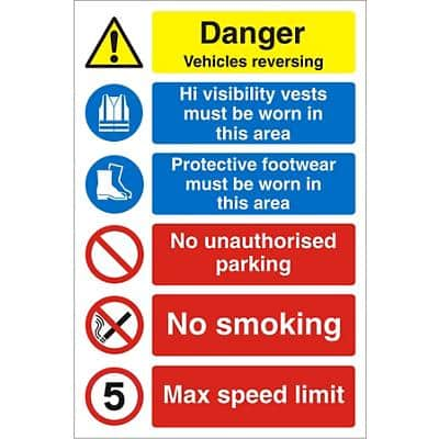 Warning Sign Vehicles Reversing Plastic 60 x 40 cm