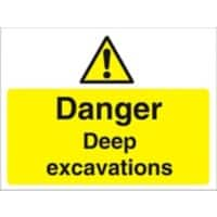 Warning Sign Deep Excavations Fluted Board 30 x 40 cm