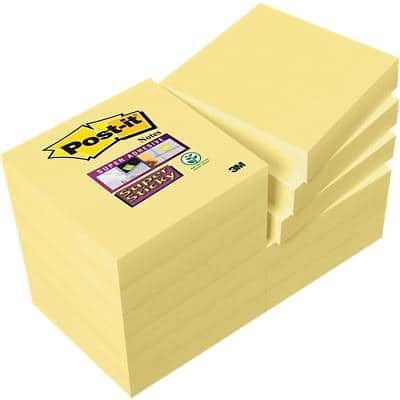 Post-it Super Sticky Notes 47.6 x 47.6 mm Canary Yellow 12 Pads of 90 Sheets