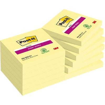 Post-it Super Sticky Notes 76 x 76 mm Canary Yellow 12 Pads of 90 Sheets