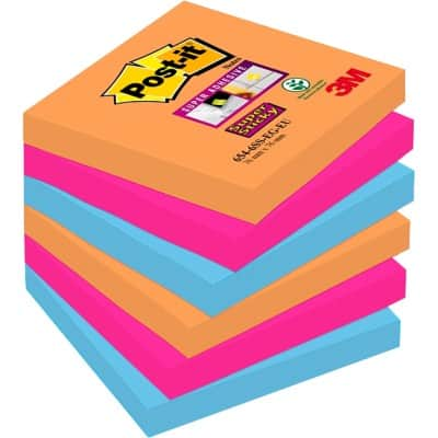 Post-it Super Sticky Notes 76 x 76 mm Assorted 6 Pieces of 90 Sheets