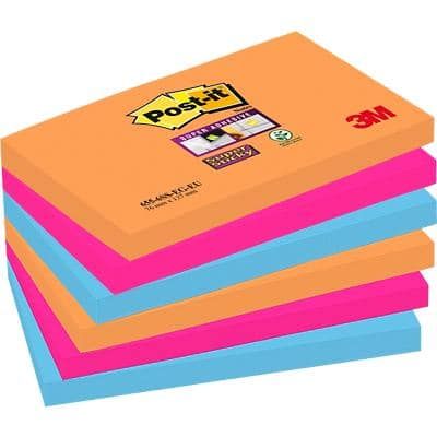 Post-it Super Sticky Notes 127 x 76 mm Bangkok Assorted Colours 6 Pads of 90 Sheets