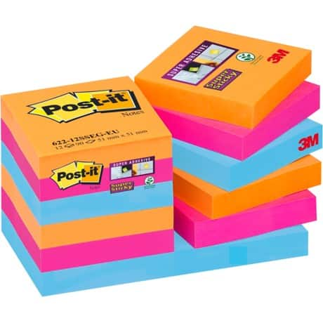 Post-it Sticky Note Cube 622-12SS-EG Assorted 48 x 48 mm 70gsm 12 pieces of 90 sheets