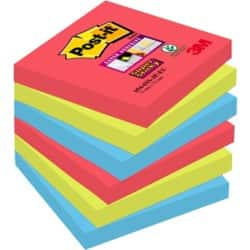 Post-it® Super Sticky Notes - Bora Bora Collection (76 mm x 76 mm) 6 pads per pack