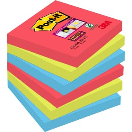 Post-it Super Sticky Notes Jewel Pop Assorted Plain 76 x 76 mm 70gsm 6 pieces of 90 sheets