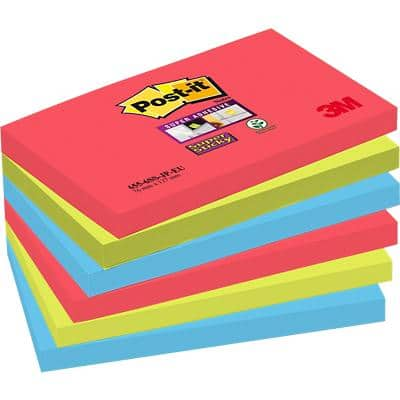 Post-it Super Sticky Notes 127 x 76 mm Bora Bora Assorted Colours 6 Pads of 90 Sheets