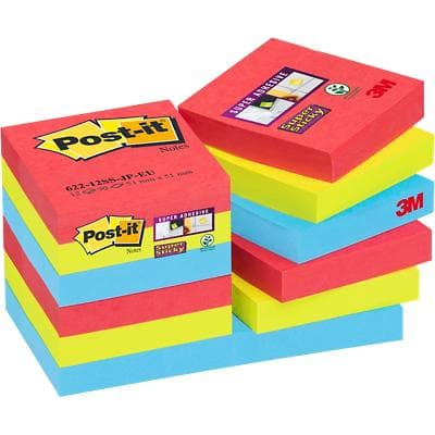 Post-it Super Sticky Notes 47.6 x 47.6 mm Bora Bora Assorted Colours 12 Pads of 90 Sheets