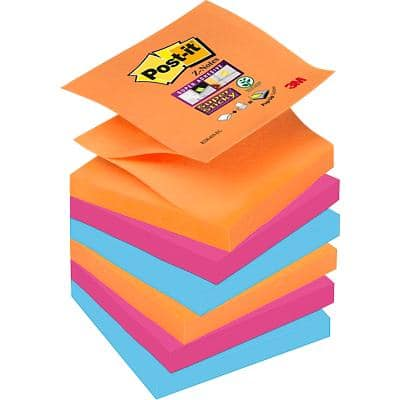 Post-it Super Sticky Z-Notes 76 x 76 mm Assorted Pack of 6 of 90 Sheets