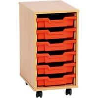 Storage Unit with 6 Trays MSU1/6 YL 370 x 495 x 650mm Beech & Yellow