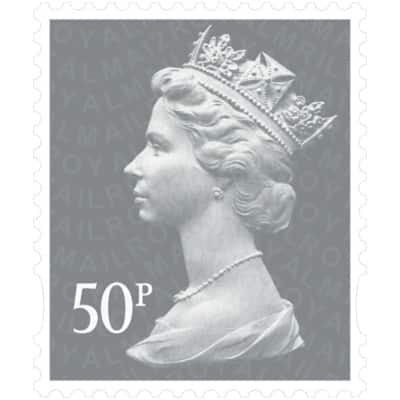 Royal Mail 50p Postage Stamps 25 Pieces
