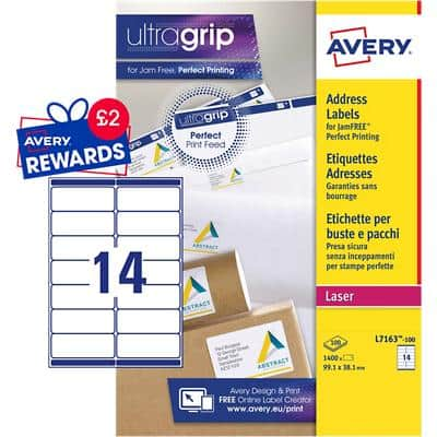 AVERY Address Labels L7163-100 UltraGrip White A4 99.1 x 38.1 mm 100 Sheets of 14 Labels