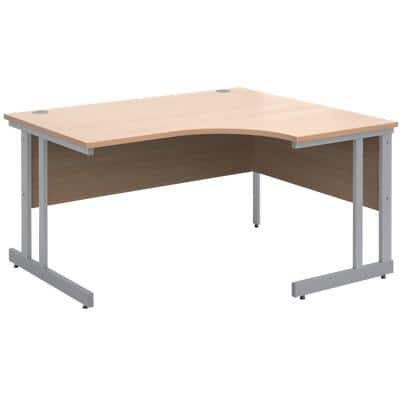 Corner Right Hand Design Ergonomic Desk with Beech Coloured MFC Top and Silver Frame Adjustable Legs Momento 1400 x 1200 x 725 mm