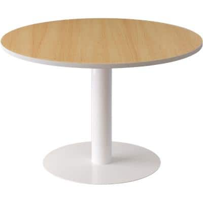 Paperflow Round Meeting Table with White & Beech Coloured Melamine, ABS & Lacquered Steel Top and Base Panel Legs Easy Desk 750 x 1150 x 1150mm