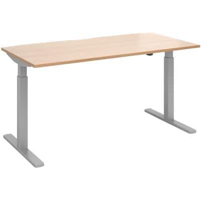 Elev8² Sit Stand Single Desk with Beech Coloured Melamine Top and Silver Frame 2 Legs Mono 1600 x 800 x 675 - 1175 mm