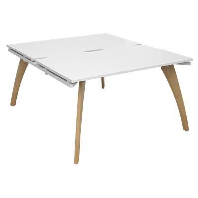 Dams International Rectangular Back to Back Desk with White Melamine Top and White Frame 4 Solid Oak Legs Fuze 1600 x 1400 x 725 mm
