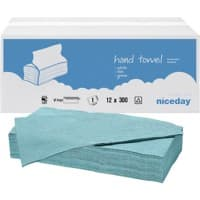Niceday Hand Towels Standard 1 Ply V-fold Blue 12 Pieces of 300 Sheets