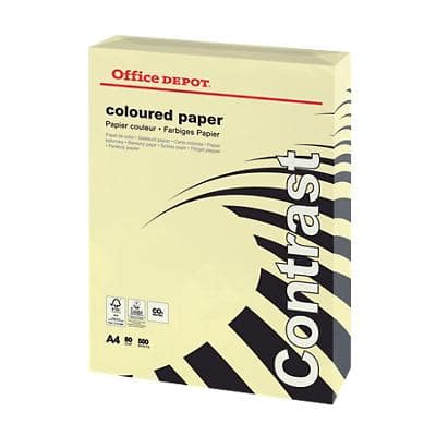 Office Depot Contrast Coloured Paper A4 80gsm Pastel Yellow 500 Sheets