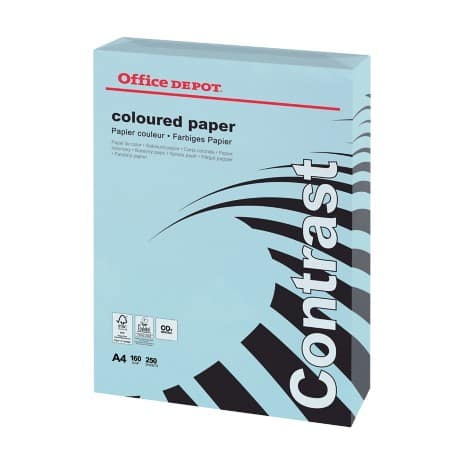 Office Depot Contrast Coloured Paper A4 160gsm Blue 250 sheets