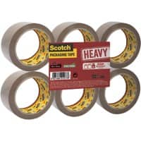 Scotch Packaging Tape Heavy 50mm x 66m Brown 6 Rolls