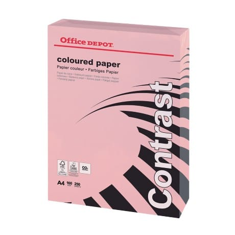 Office Depot Coloured Paper A4 160gsm Pink 250 sheets