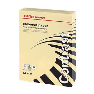 Office Depot Contrast Coloured Paper A4 80gsm Pastel Cream 500 Sheets