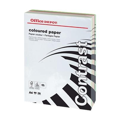 Office Depot Contrast Coloured Paper A4 160gsm Assorted 250 Sheets