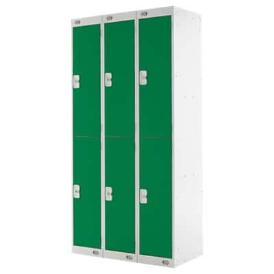 LINK51 Standard Mild Steel Locker with 2 Doors Standard Deadlock Nest 3 300 x 450 x 1800 mm Grey & Green