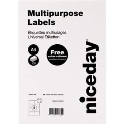 Niceday Multipurpose Labels Right Corners 105 x 74 mm Adhesive White 100 Sheets Pack of 800 Labels