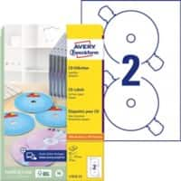 Avery L7676-25 CD Labels A4 White 25 Sheets of 2 Labels