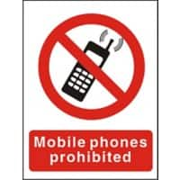 Prohibition Sign No Mobiles PVC 15 x 20 cm
