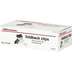 Office Depot Foldback Clips Black 19 mm 12 Per Box