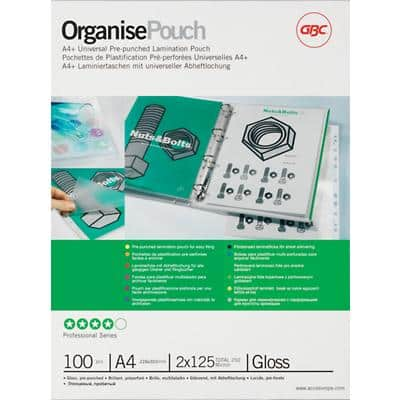 GBC Pre-Punched Laminating Pouches Glossy 2 x 125 (250 Micron) A4 Pack of 100