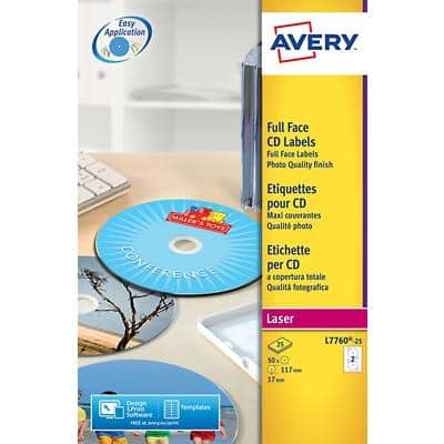 Avery L7760-25 CD/DVD/Diskette Labels White 25 Sheets of 2 Labels
