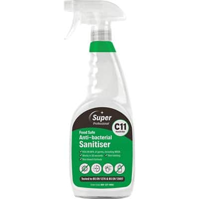 Super Professional Products Kitchen Spray Sanitiser Antibacterial 6 Bottles of 750 ml