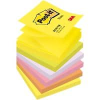 Post-it Sticky Z-Notes 76 x 76 mm Neon Assorted Colours 6 Pads of 100 Sheets