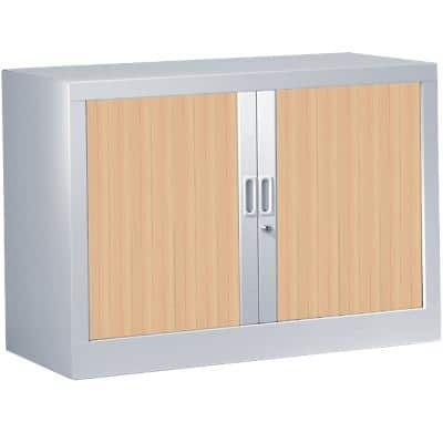 Pierre Henry Tambour Cupboard Lockable with 1 Shelf Steel Generic 1000 x 430 x 695mm Silver & Oak