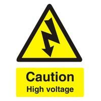 Warning Sign Caution High Voltage PVC 15 x 20 cm