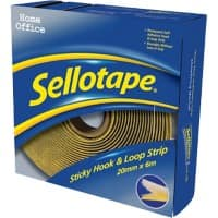 Sellotape Sticky Hook and Loop Strip Self Permanent White & Yellow 6m