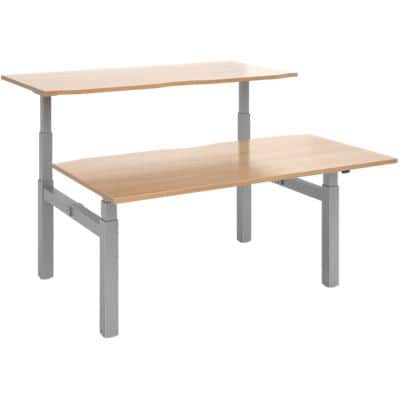 Elev8² Rectangular Sit Stand Back to Back Desk with Beech Coloured Melamine Top and Silver Frame 4 Legs Touch 1600 x 1650 x 675 - 1300 mm
