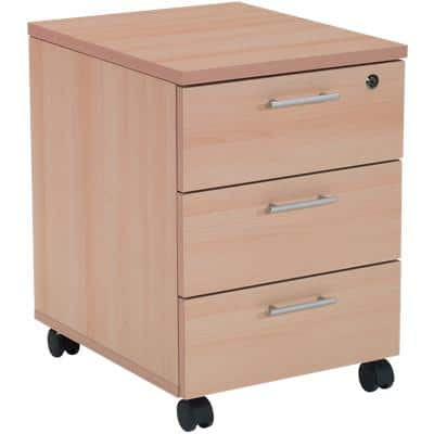 Realspace Pedestal with 3 Lockable Drawers MFC 430 x 550 x 600mm Beech