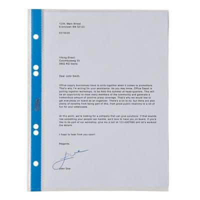 Office Depot Punched Pockets A4 Polypropylene Perforated 75 Micron Transparent