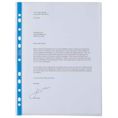 Office Depot Punched Pockets A4 Polypropylene Perforated 90 Micron Transparent
