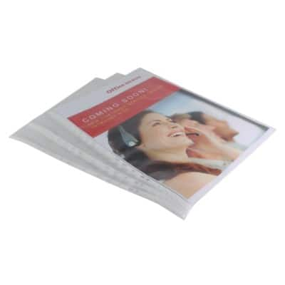 Office Depot A3 Premium Punched Pockets - Portrait Top Opening - White Spine - Pack of 10
