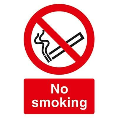 Prohibition Sign No Smoking PVC 20 x 30 cm